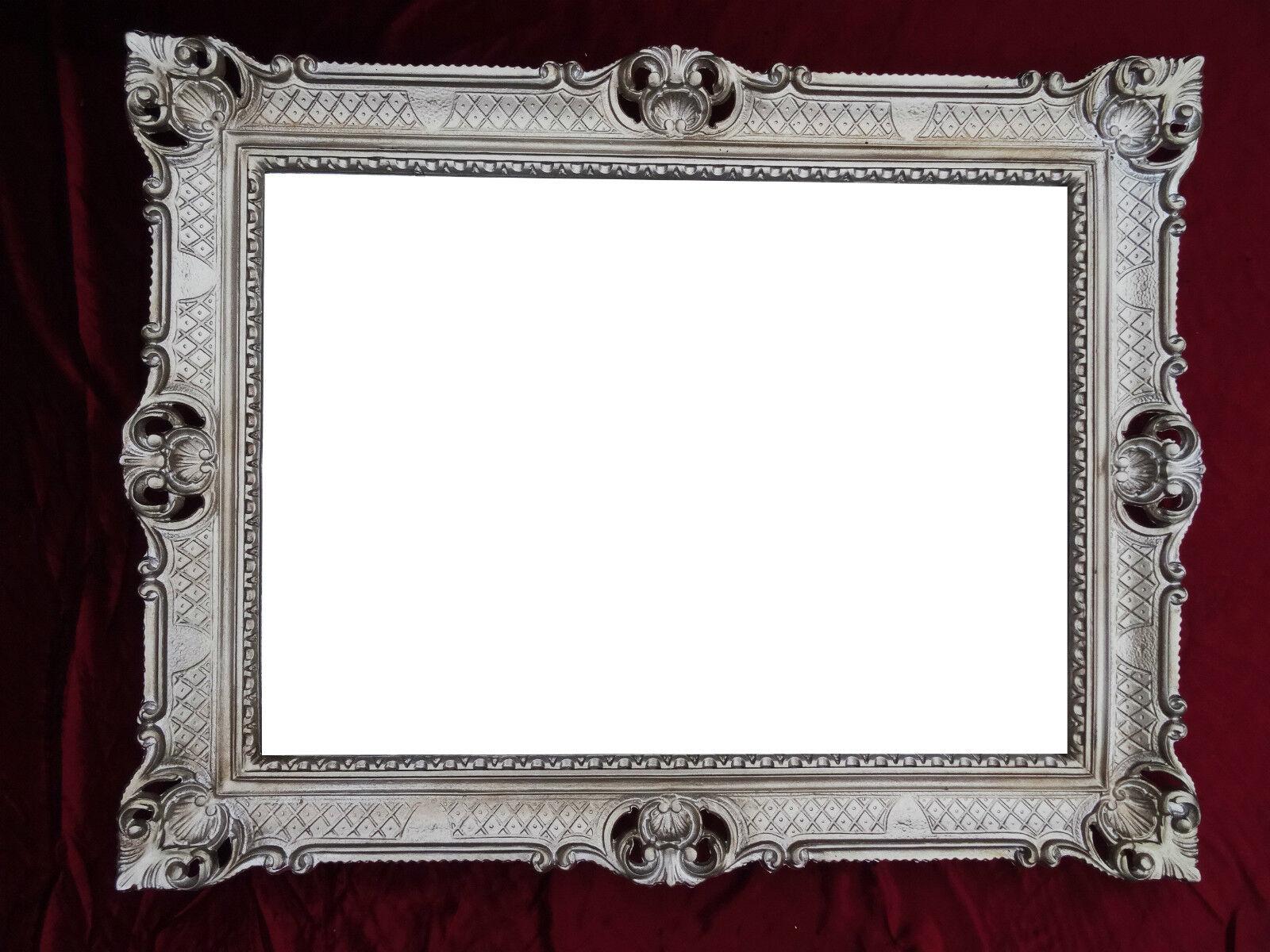Miroir mural argent vieilli antique baroque rococo 90x70 for Miroir noir baroque