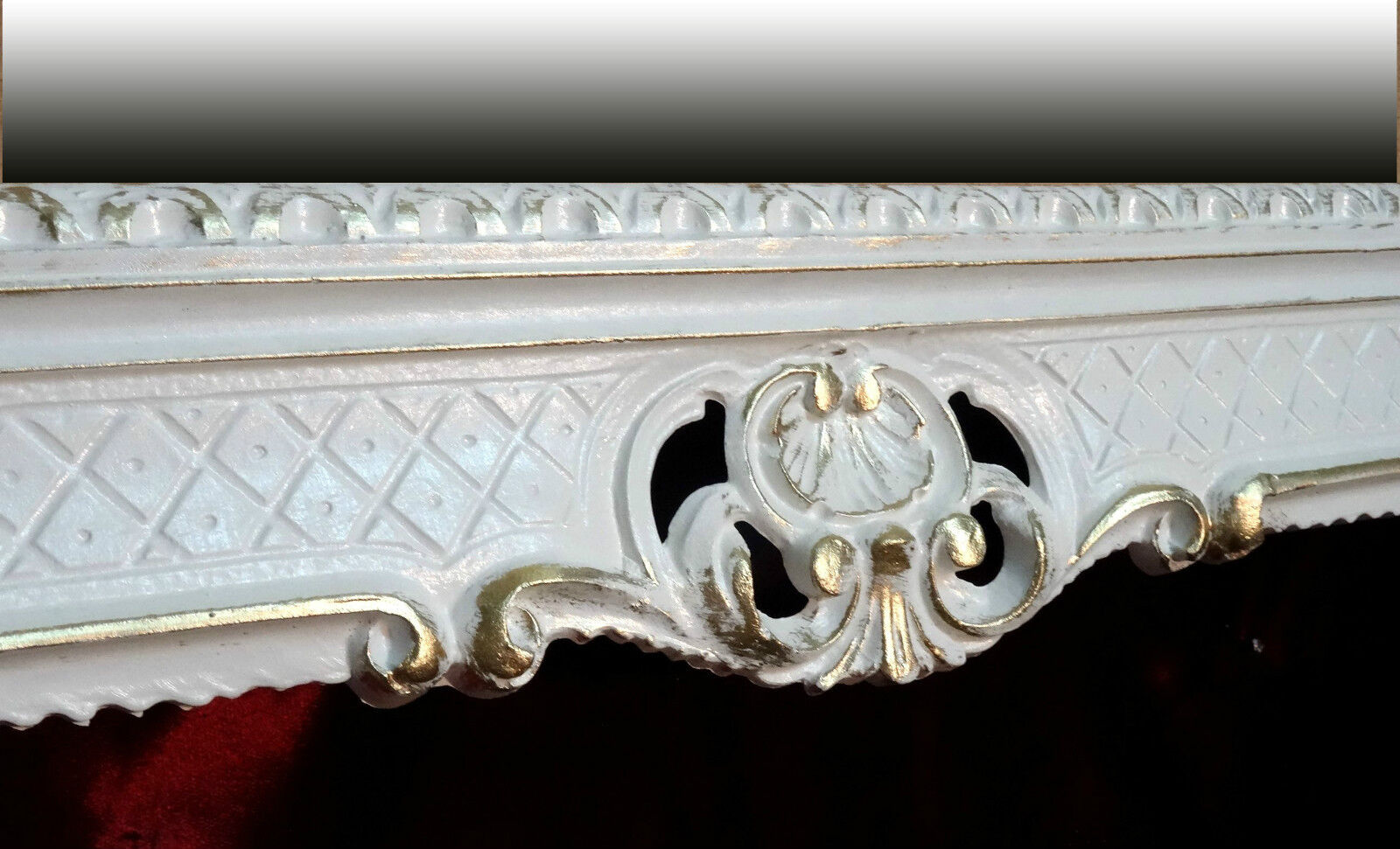 Miroir baroque mural blanc or double antique rococo for Miroir baroque noir rectangulaire