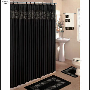 BATH SET 2 Rugs/Fabric Shower Curtain/Rings/3 Towels in Home & Garden, Bath, Shower Curtains | eBay