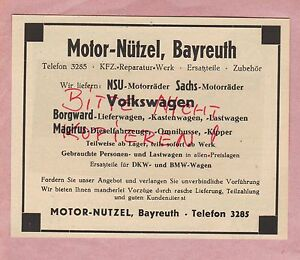 bayreuth werbung 1949 motor n tzel nsu sachs motorr der borgward magirus auto ebay. Black Bedroom Furniture Sets. Home Design Ideas