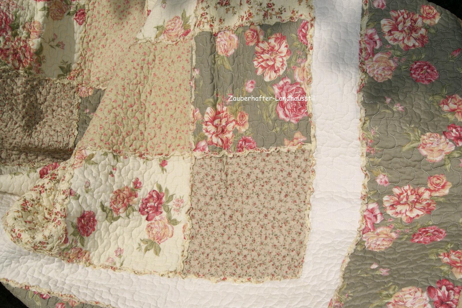 bea tagesdecke braun grau beige rosen plaid shabby. Black Bedroom Furniture Sets. Home Design Ideas