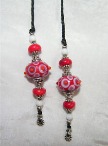 BEADED THONG BOOKMARK – ( Bold Red ) - Handmade - NEW in Books, Accessories, Bookmarks | eBay