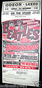 BEATLES-Poster-Leeds-Vintage-Antique-Concert-Rock-n-Roll-Pop-Music-Liverpool-UK
