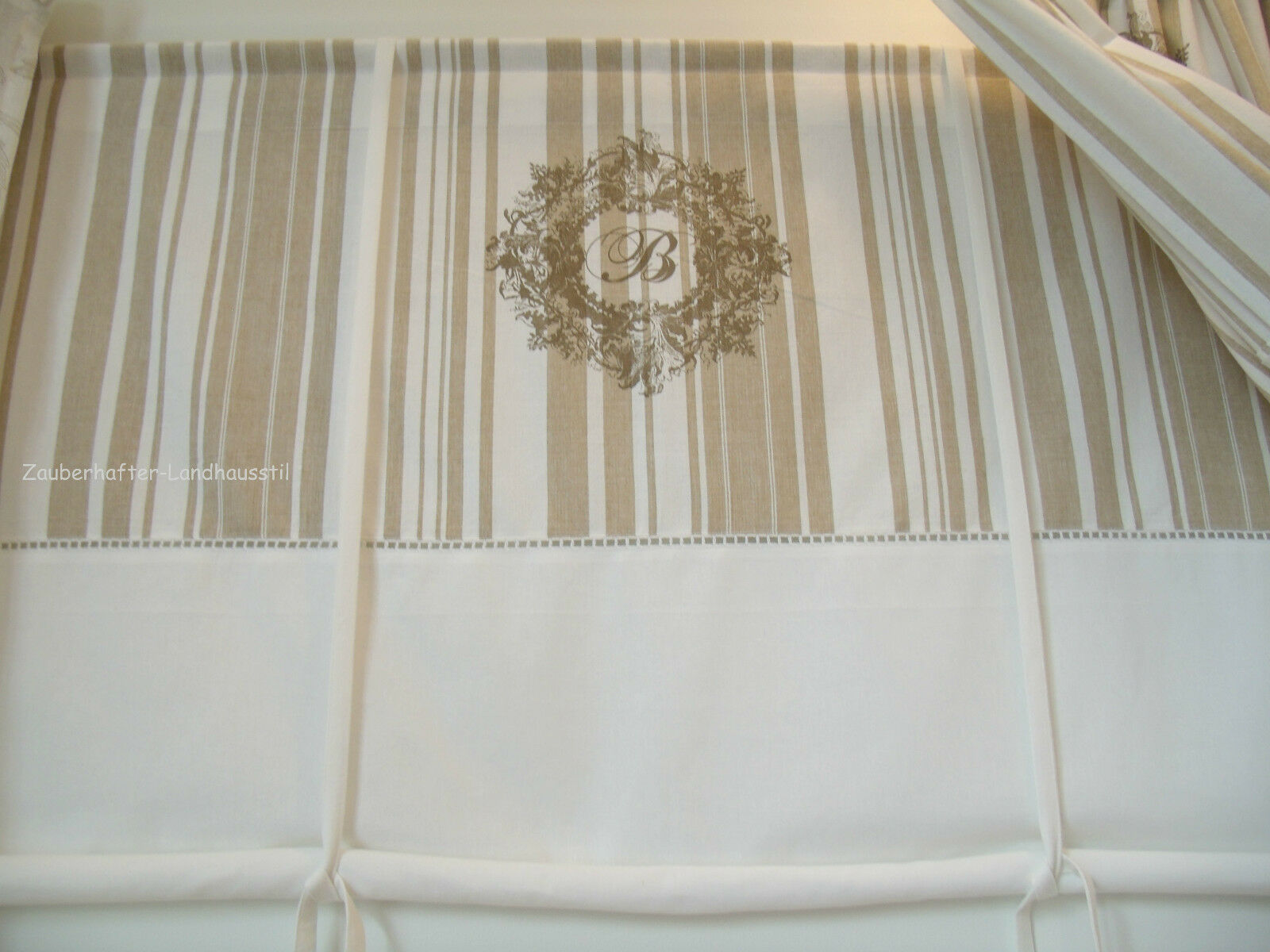 beatrice deko raff gardine 140x100 shabby vintage curtain franske landhausstil ebay. Black Bedroom Furniture Sets. Home Design Ideas