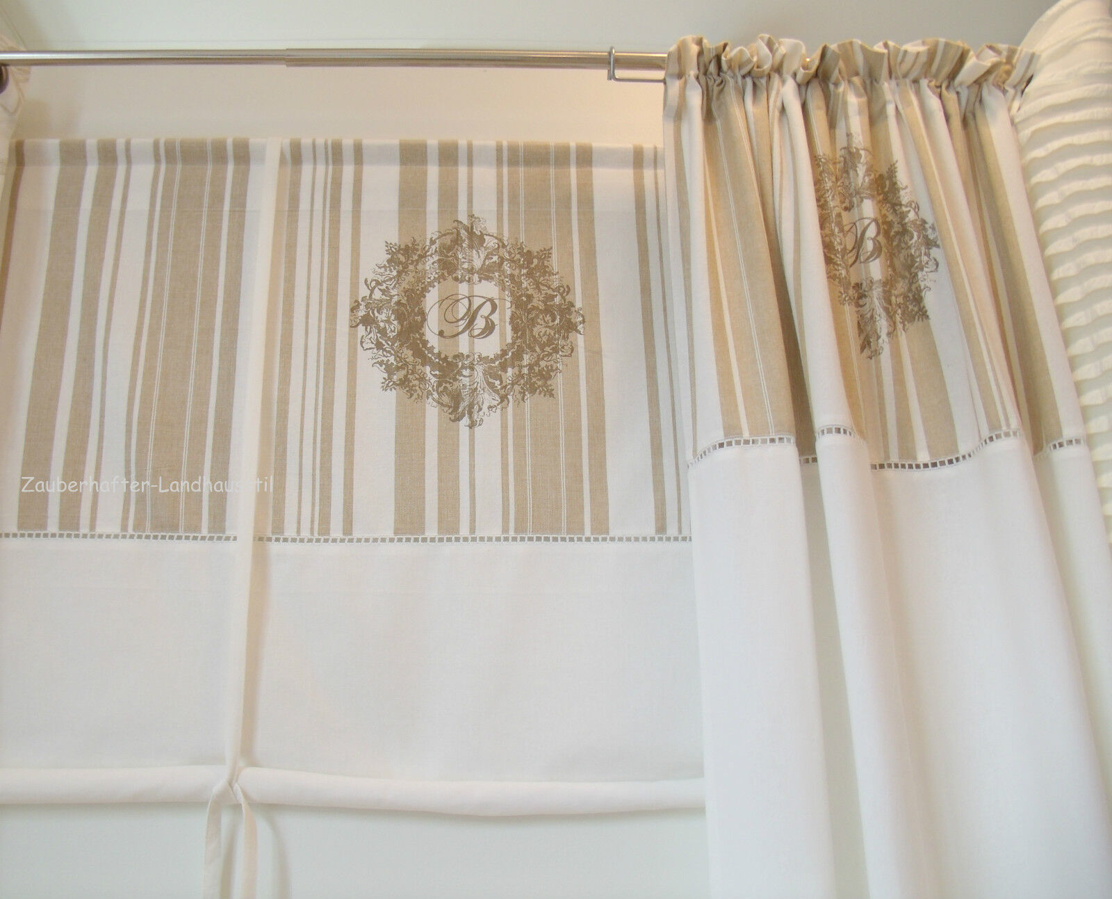 beatrice deko raff gardine 100x100 shabby vintage curtain. Black Bedroom Furniture Sets. Home Design Ideas