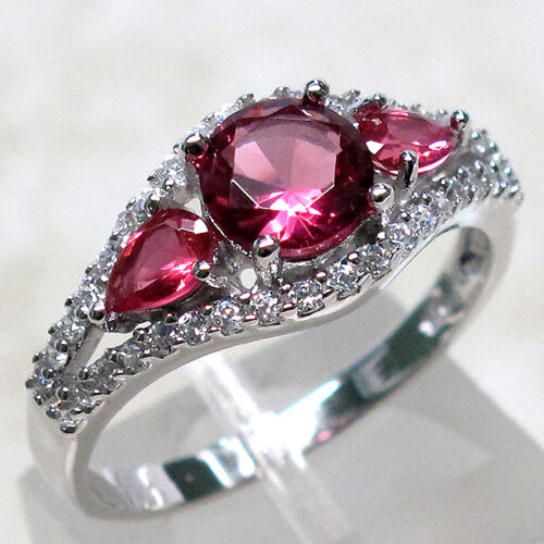 BEAUTIFUL 1 CT THREE STONE RUBY 925 STERLING SILVER RING SIZE 8 in Jewelry & Watches, Fine Jewelry, Fine Rings | eBay