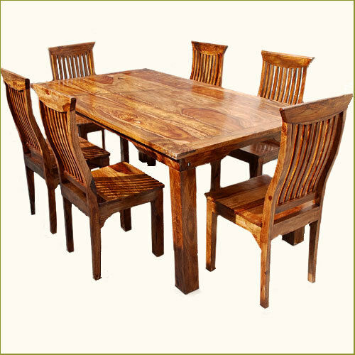 Wood kitchen table sets 2017 grasscloth wallpaper for Kitchen table set 6 chairs