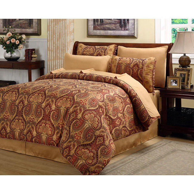 beautiful rich elegant red gold comforter set 8 pc cal king queen