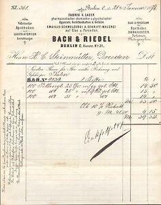 berlin rechnung 1876 fabrik v apotheken laboratorien einrichtungen bach ebay. Black Bedroom Furniture Sets. Home Design Ideas