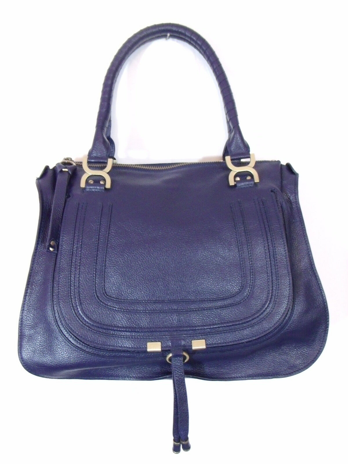 BESSO BLUE LEATHER LUXURY ITALIAN HANDBAG SHOULDER BAG TOTE PURSE B12