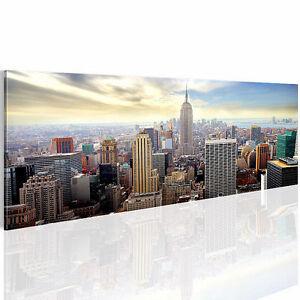 bild leinwand bilder 603411a new york skyline kunstdruck 110x40 cm wandbild 1tlg ebay. Black Bedroom Furniture Sets. Home Design Ideas