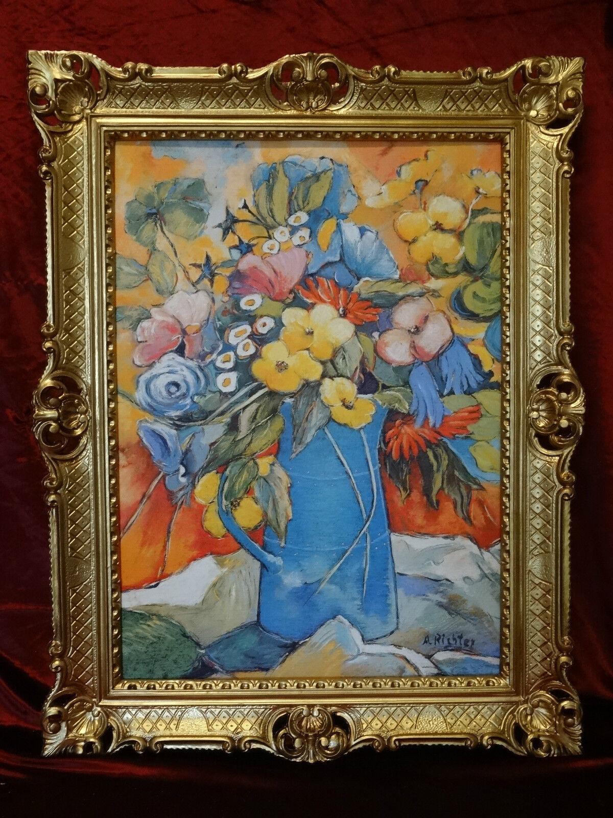 BILDERRAHMEN BILD BLUMEN Rosen Paradies Vase RAHMEN ANTIK BAROCK ...