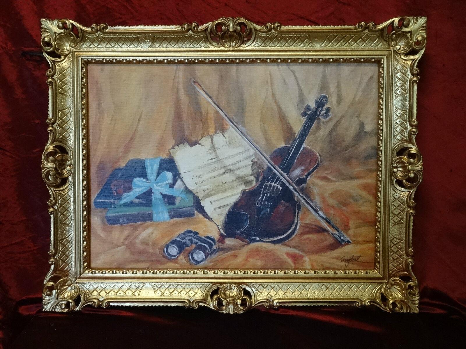 Bilderrahmen bild geige musikinstrument musik rahmen antik for Couchtisch 90x70