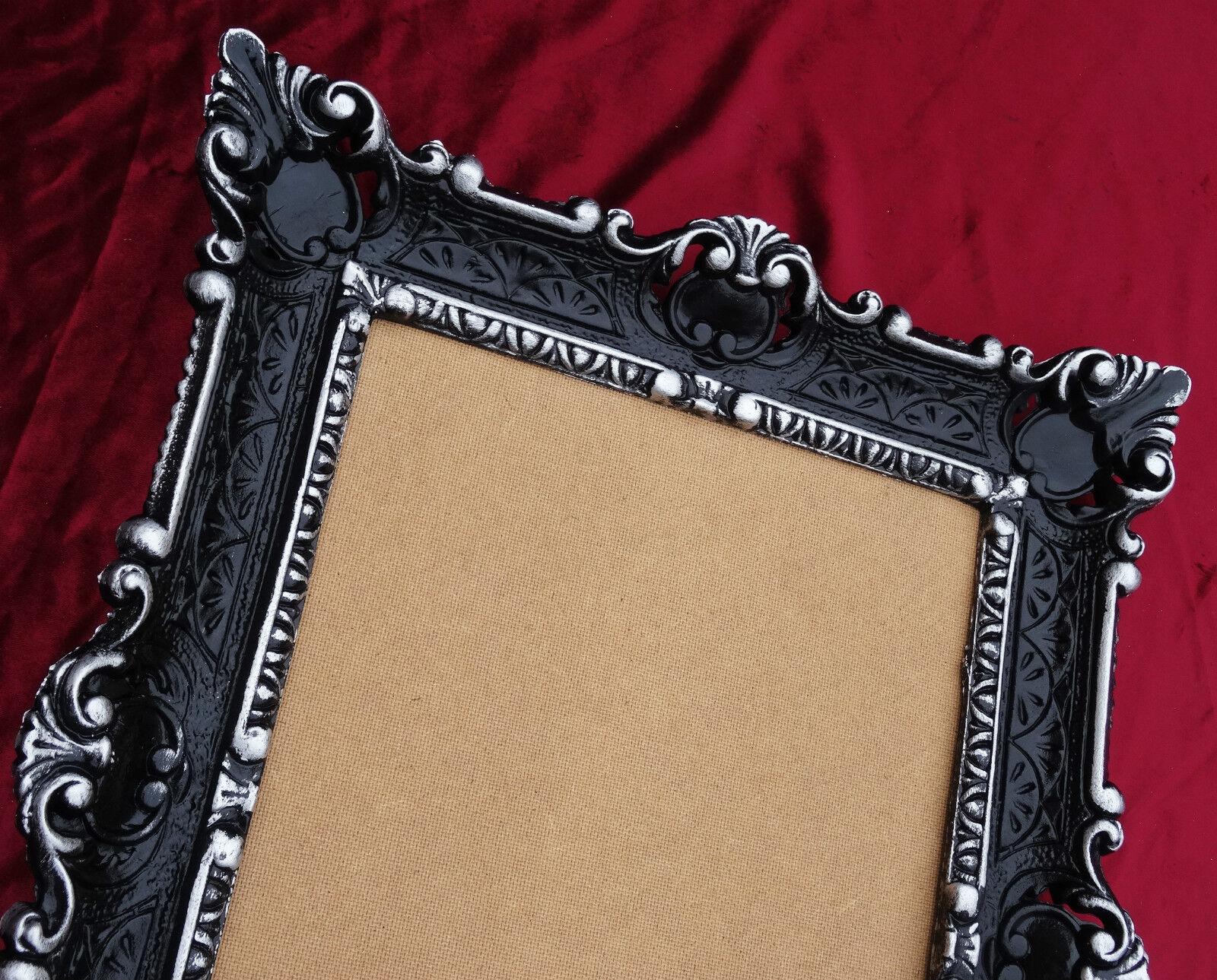 antik barock bilderrahmen schwarz silber 56x46 fotorahmen replikate repro rahmen ebay. Black Bedroom Furniture Sets. Home Design Ideas