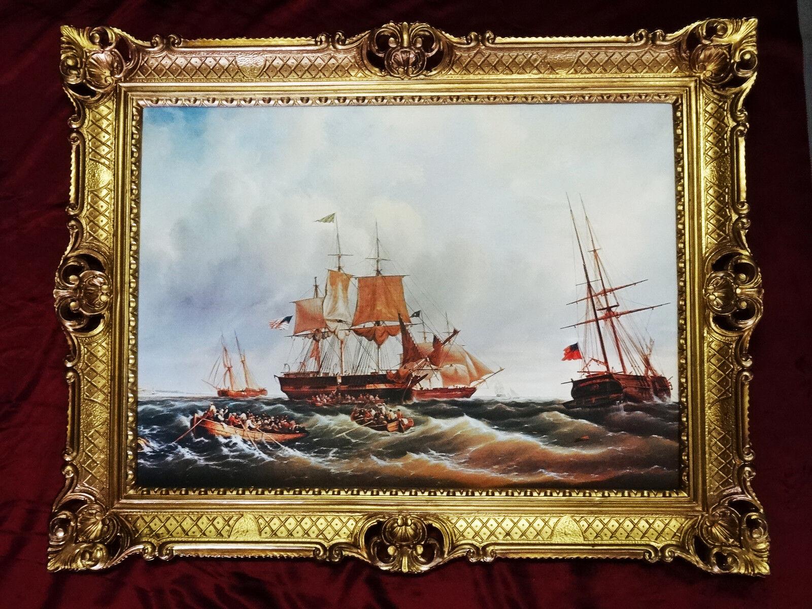 Bilderrahmen gem lde schiff segelschiff antik barock 90x70 for Couchtisch 90x70