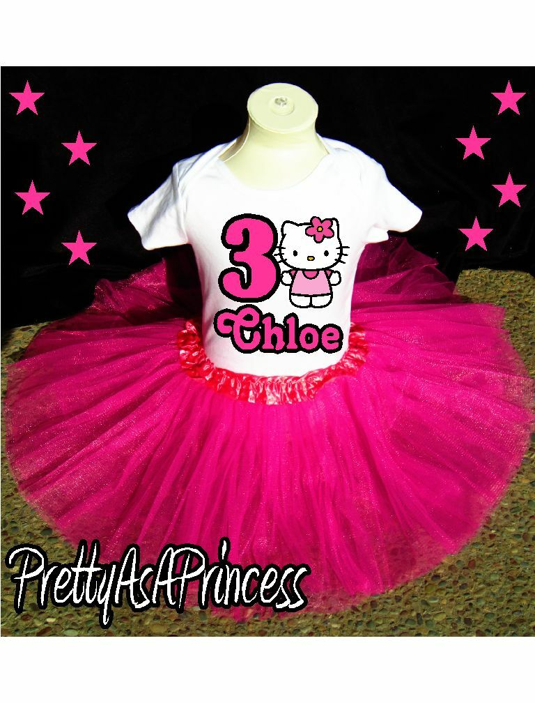 BIRTHDAY HELLO KITTY TUTU OUTFIT PINK DRESS AGES 1 5