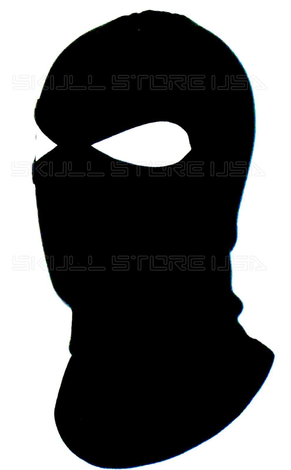 BLACK 2 HOLE BALACLAVA FULL SKI HOOD LONG NECK FACE MASK LARPA ...