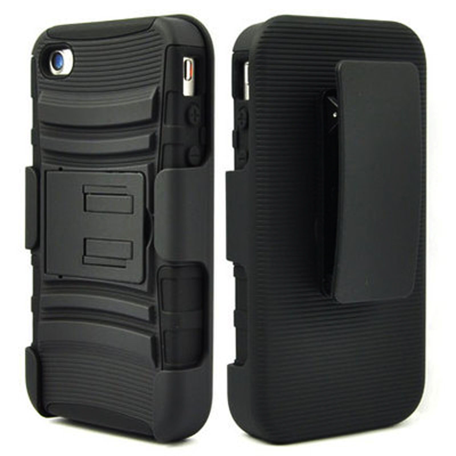 BLACK 3 IN 1 RUGGED COMBO CASE & BELT CLIP HOLSTER KICKSTAND APPLE IPHONE 4 4S