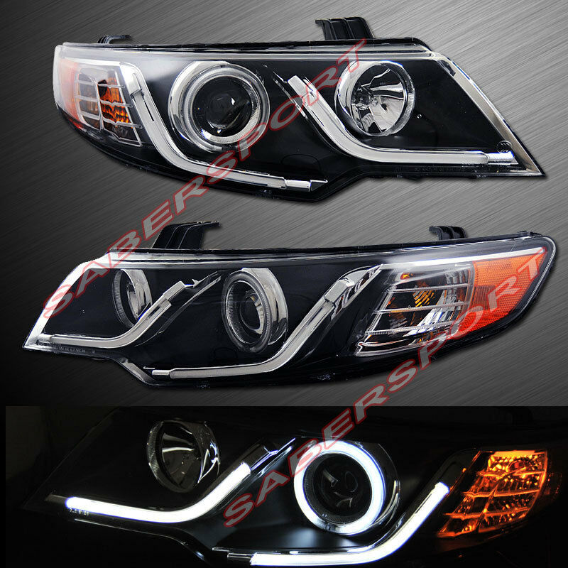 Black CCFL Halo Projector Headlights w LED Bar V2 for 2010 2011 Kia Forte Koup