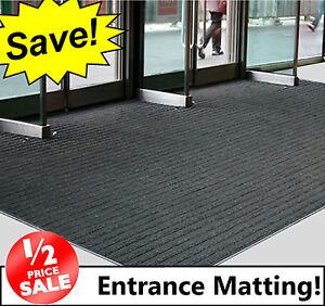 Black Coir Entrance Matting Ribbed Door Mat Reception
