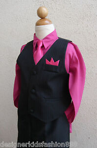 Blackshirt Dress on Black Fuchsia 4 Pieces Boys Set Toddler Vest With Long Tie Shirt Dress