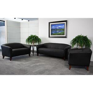 Black Leather Office Sofa Reception Area Seating Set EBay
