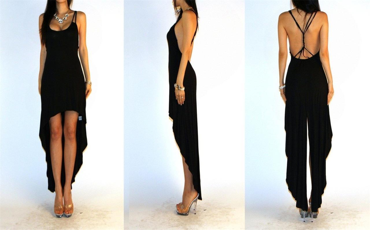 BLACK MINIMALIST OPEN CROSS STRAPED BACK TAILED HIGH LOW HEM COCKTAIL DRESS SML