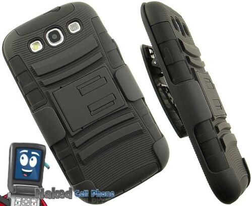 BLACK RUBBER SKIN HARD CASE STAND BELT CLIP HOLSTER FOR SAMSUNG GALAXY-S 3 III in Cell Phones & Accessories, Cell Phone Accessories, Cases, Covers & Skins | eBay