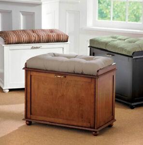 black walnut or white shoe storage bench organizer