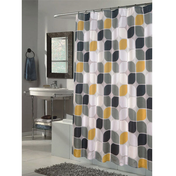 Black White Grey Yellow Deco Fabric Shower Curtain Extra Long 72 X 84