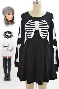 Babydoll Dress on Black White Babydoll Longsleeve Bare Bones Dress W Skeleton Bone Ribs