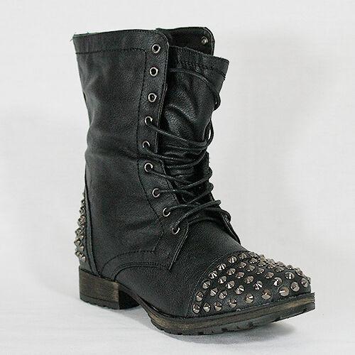 Lastest  Women39s Black Studded Combat Boots BLACK In Boots  DressLilycom