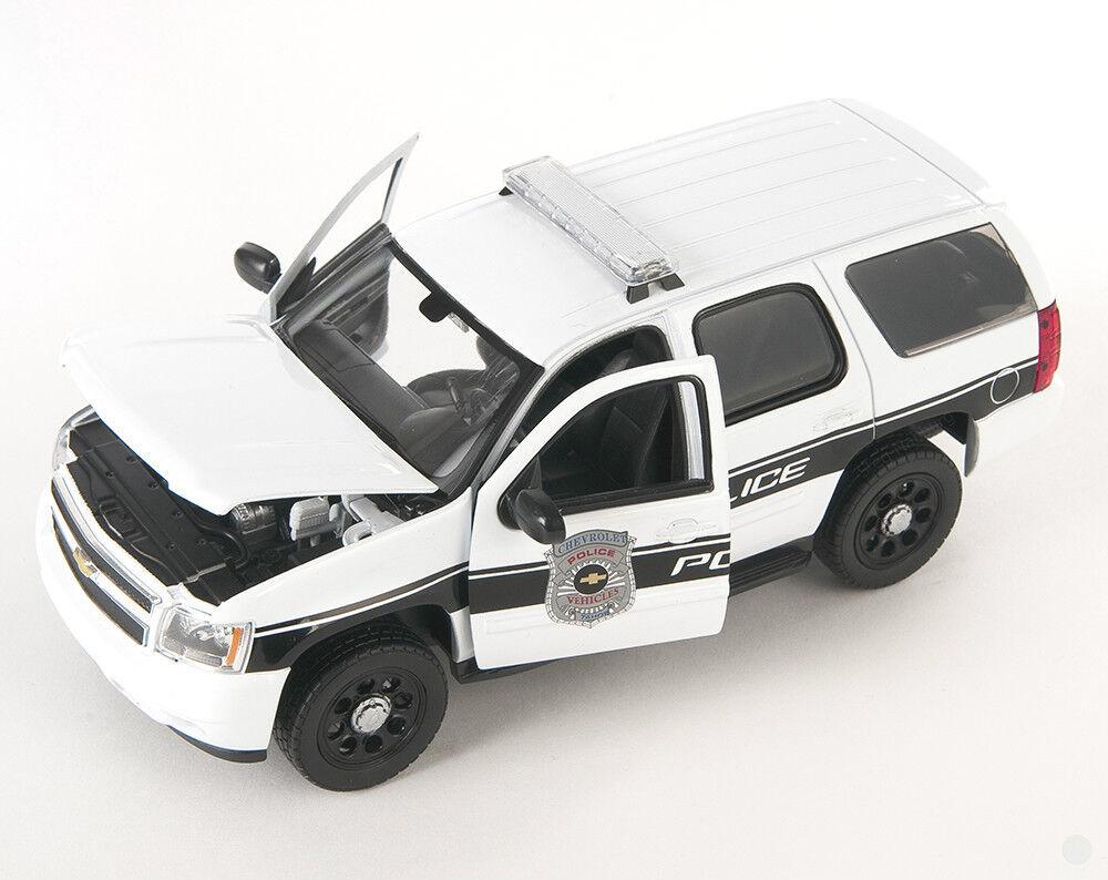 "° Welly 22509 Chevrolet Tahoe /""Police/"" weiss//schwarz Maßstab 1:24 NEU"