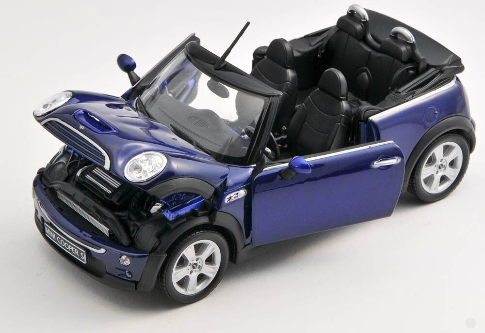 blitz versand mini cooper s cabrio blau blue 1 24 welly. Black Bedroom Furniture Sets. Home Design Ideas