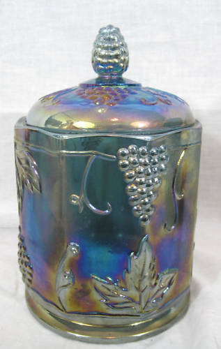 Blue Harvest Grape Indiana Carnival Glass Canister