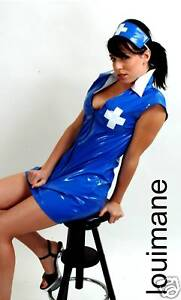 Dress on Blue Nurses Pvc Uniform Costume Dress Outfit Sizes 8 18   Ebay