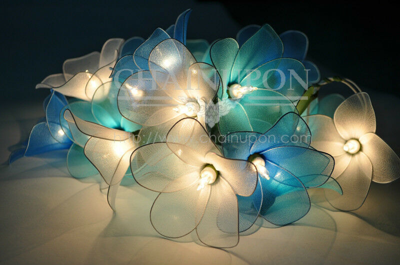 Blue tone flower string floral patio fairy decor teen girl room wedding lights for Young woman bedroom and string lights
