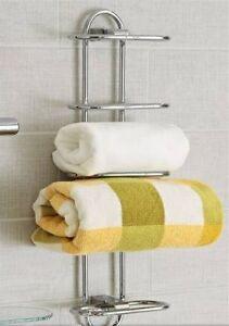 ... Arc Chrome Curved Wall Mounted Towel Storage / Rail - Bathroom  eBay