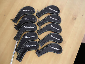 BNIP-10-X-BLACK-UK-TAYLORMADE-ZIPPED-GOLF-CLUB-IRON-HEAD-COVERS-QUICK-DELIVERY