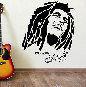 Bob marley 1945 1981 vinyl wall art sticker decal ebay for Bob marley wall mural