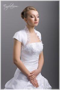 BOLERO-BRAUTJACKE-Satin-kurzarm-Hochzeit-Gr-36-38-40-42-NEU-DF38
