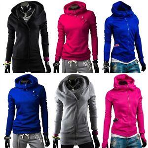 BOLF-Damen-Sweatshirt-Sweatjacke-Zipper-Hoodie-Freizeit-Kapuze-MIX-1A1-Fitness