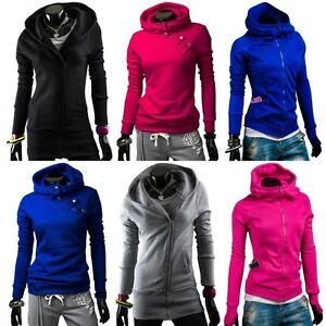 BOLF-Damen-Sweatshirt-Sweatjacke-Zipper-Hoodie-Sport-Freizeit-Kapuze-Fitness