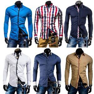 BOLF-Herrenhemd-Langarm-Slim-Fit-Figurbetont-Freizeithemden-Top-Hemd-Lang-Polo