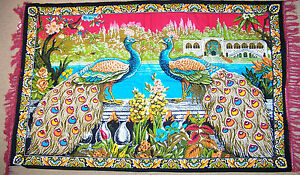 BRAND-NEW-INDIAN-PEACOCK-PEACOCKS-BIRD-THEME-HUGE-5-FT-X-3-FT-WALL-FLAG-RUG