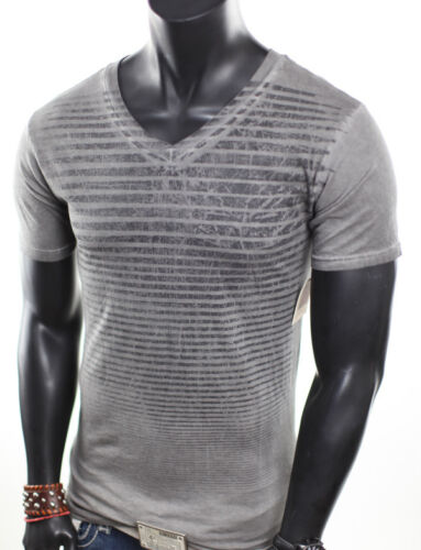 BRAND NEW MENS STRIPES MINERAL WASH V-NECK VINTAGE GRAY BLACK T-SHIRT S in Clothing, Shoes & Accessories, Men's Clothing, T-Shirts | eBay