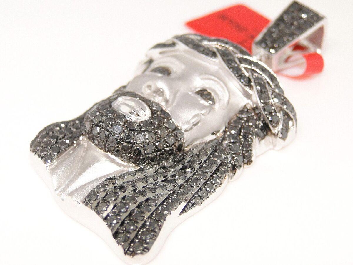 NEW MENS WHITE GOLD FINISH JESUS FACE PENDANT BLACK DIAMOND CROSS 5 CT