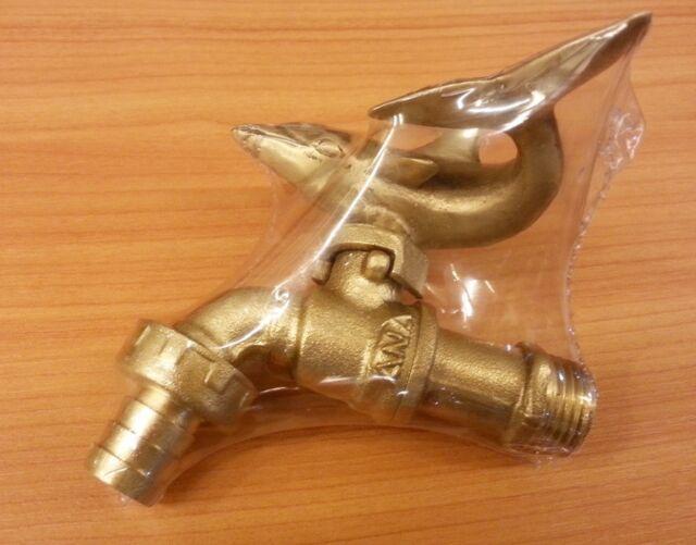 Brass garden tap dolphin faucet spigot vintage water home decor living outdoor ebay - Dolphin faucet ...