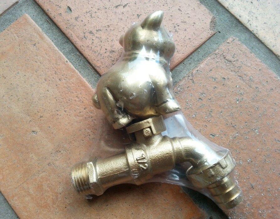 Brass Garden Tap Faucet Vintage CUTE PIG Spigot Water Home ...