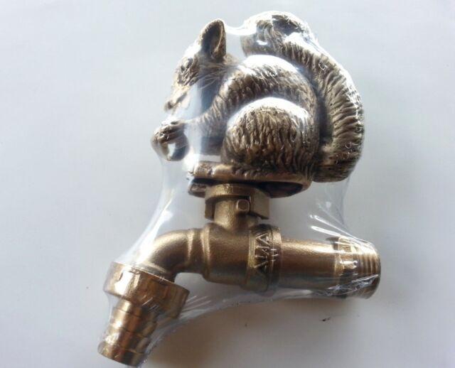 Brass Garden Tap Faucet Squirrel Spigot Animal Vintage Water Home Decor Outdoor